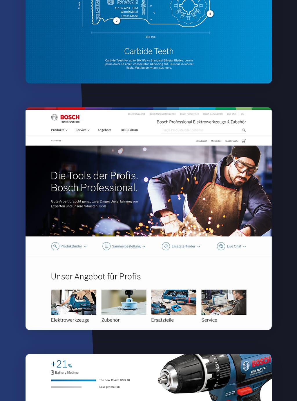 Screenshot of Bosch PowerTools website