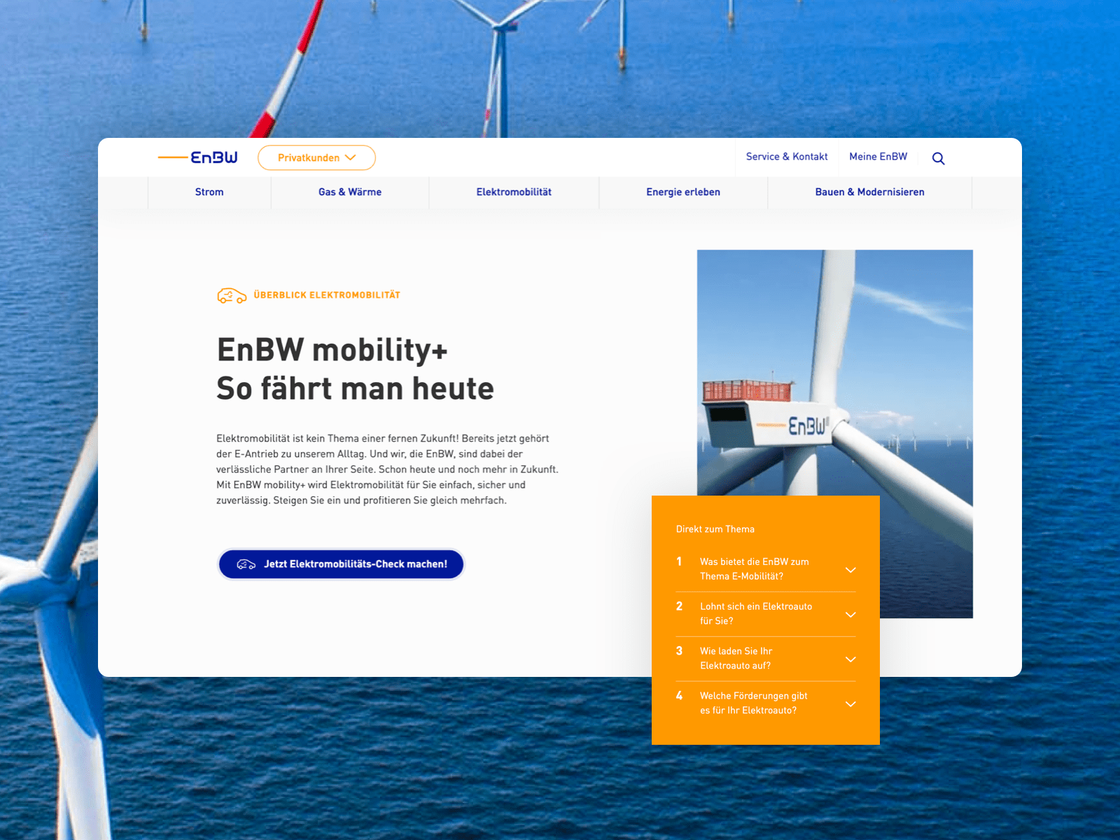 The new EnBW website.